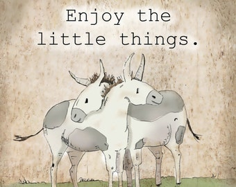 Enjoy the little things.  Miniature donkey art print.