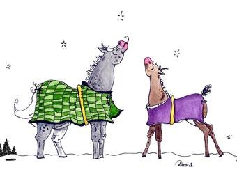 Snowflake Catcher Horse Art Print