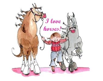 "I Love Horses 8"" x 8"" print.  Watecolor Print"