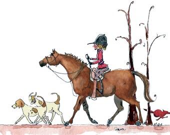 """Out-Foxed.  Fox Hunter Print Horse Equestrian Art 8"""" x 10"""" Print"""