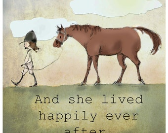 Happily Ever After Horse And Girl Art Print