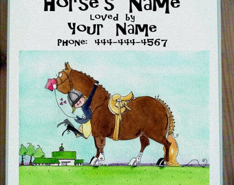 Pasture Passion Hunter Horse Stall Sign with up to four lines of personalization. Dana's Doodles