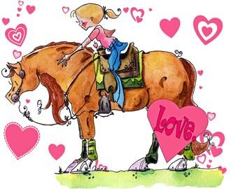 Loved western horse  Art print  Cowgirl artwork