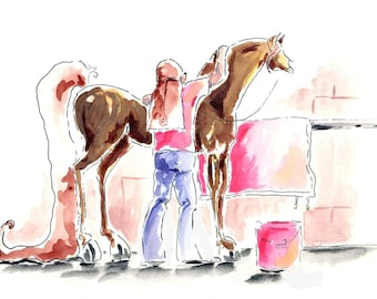 Love in the wash stall.  Girl and Horse Artwork Print