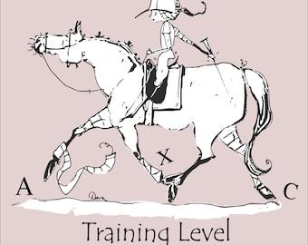 "Training level Dressage lifetime member horse art print.  8"" x 8"""