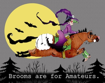 Brooms are for Amateurs Halloween Horse Print