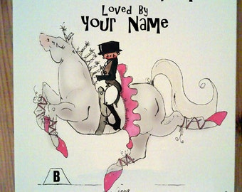 Gray Ballet Dressage Horse Stall Sign with up to four lines of personalization.