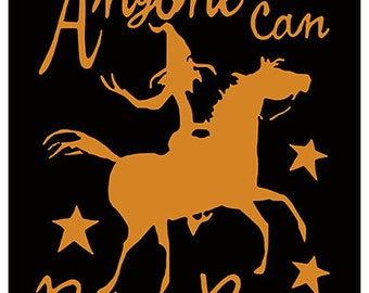 Anyone can ride a broom.  Equestrian Halloween Art Print.  Witch riding a horse.