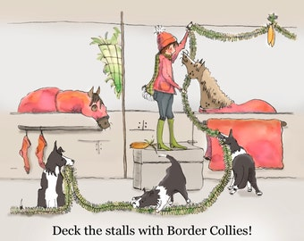 """Deck the Stalls with Border Collies 11"""" x 14"""" Print"""
