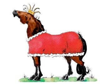 Barn Royalty Art Print Horse Cartoon