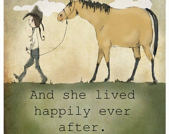 And she lived Happily Ever After.  Buckskin Horse Art