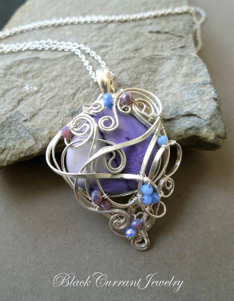 Purple Agate Pendant wirewrapped