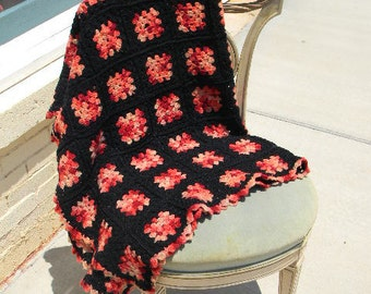 Granny's Square Hand Crochet Afghan Black/Red/Pinks