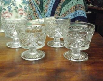 Vintage Set of 4 Pressed Glass Dessert Glasses