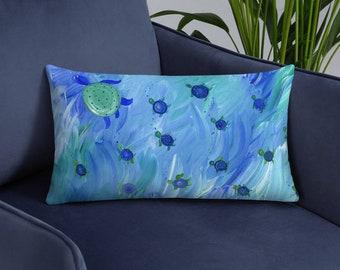 Swimming Sea Turtle Pillow for beach house nautical nursery cottage decor turquoise