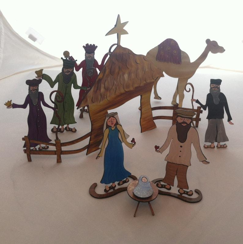 9 piece set Nativity Scene Handpainted Steel