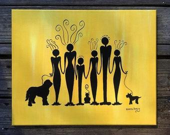 Custom family portrait silhouettes - original acrylic painting