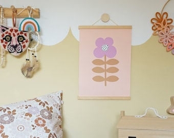 Flower Print - Stem Flower / Lilac and Tan