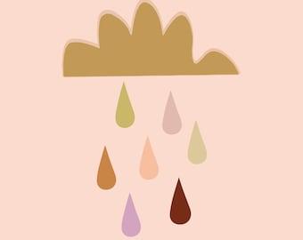 Raindrops in Blush Fine Art Print Poster Wall Art