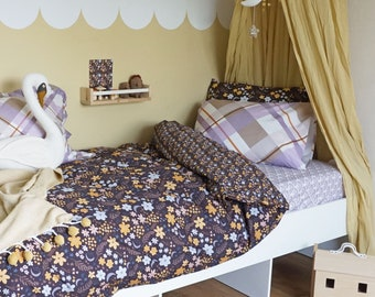 Single bed Duvet Set bedding bundle fitted sheet printed bedding pillowcases floral bedding organic cotton kids beddings girls room