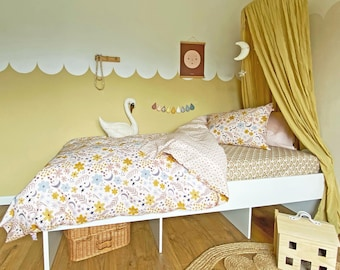 Pink floral Duvet Set, single bed bedding set bedding bundle fitted sheet printed bedding, pillowcases, organic cotton beddings Moon Flower