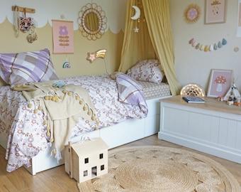 Lilac Duvet Set, single bed bedding set bedding bundle fitted sheet printed bedding, organic cotton beddings Delilah earth