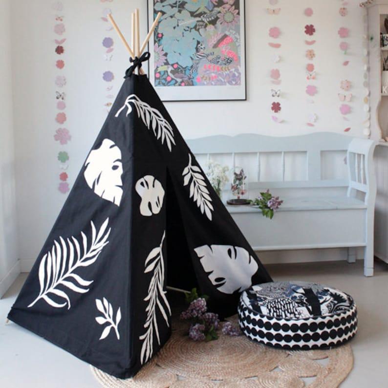 Designer Black Teepee Tent Play TIPI Medium Childrens Room image 0