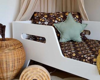 Fitted Sheet single bed Night Garden Floral design children's bedding, organic cotton, floral bed sheet, children's Bedding