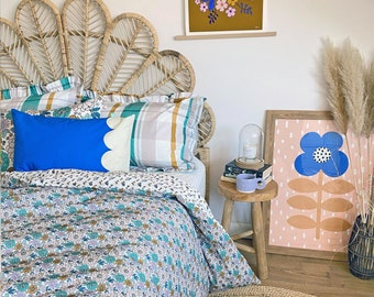 Organic Cotton Cobalt Blue Cushion cover rectangular sham pillow cover