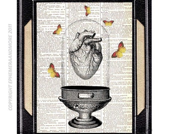 Anatomical HEART Vivarium art print on upcycled vintage dictionary book page anatomy anatomical doctor cardiologist butterflies 8x10, 5x7