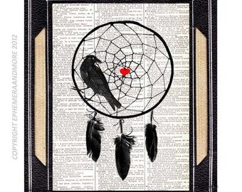 DREAMCATCHER with Crow Raven art print on upcycled vintage dictionary book page black red heart love dream wedding native american 8x10, 5x7