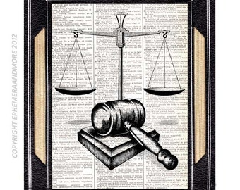 SCALE of JUSTICE and GAVEL art print wall decor law barrister lawyer office decor vintage dictionary text book page black white 8x10, 5x7
