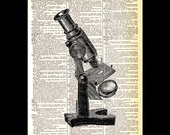 MICROSCOPE art print wall decor retro technology biology natural science on vintage dictionary text book page black white wall decor 8x10