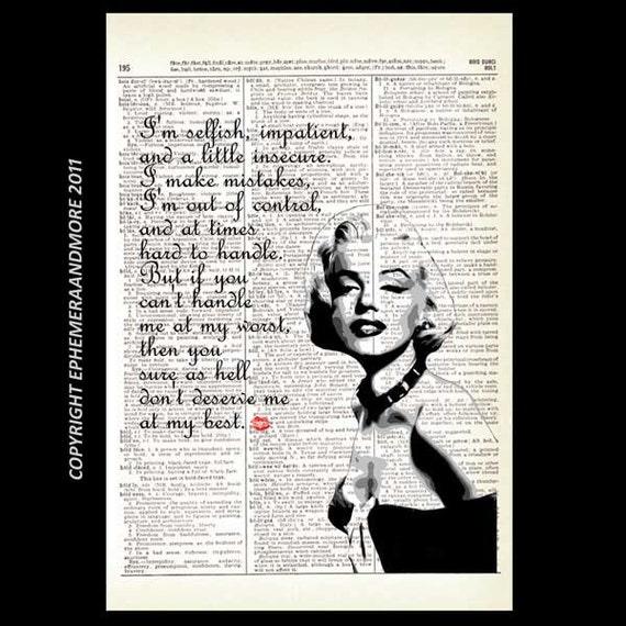 Marilyn Monroe Quote Art Print Black White Retro Movie Cinema Etsy