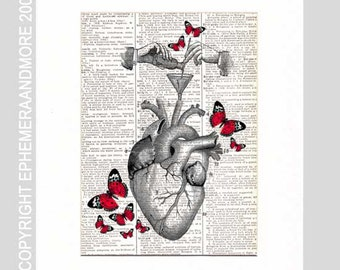 HEART Recipe For Happiness art print wall decor on vintage dictionary book page human anatomy anatomical red butterflies chemistry love 8x10