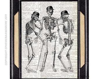 SKELETON Man art print wall decor human anatomy humor anatomical humorous illustration on vintage dictionary text book page black white 8x10