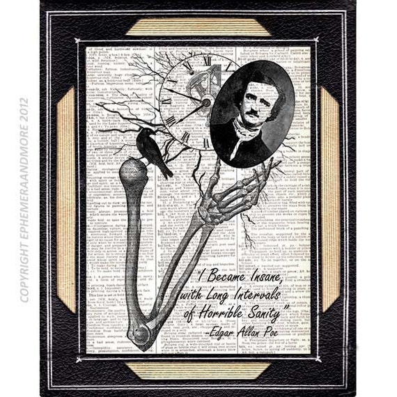 Edgar Allan Poe INSANE art print wall decor literary quote | Etsy