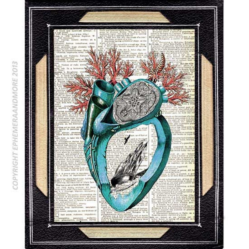 Original ART Print DICTIONARY ANTIQUE BOOK PAGE Blue Bird Love Key Book Art