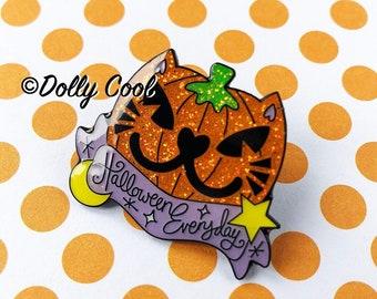Cat Pumpkin Enamel Pin by Dolly Cool - Halloween Everyday - Creepy Cute Pin Badge - Glitter