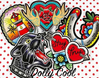 Tattoo Vinyl Sticker Pack - Panther - Horseshoe - Stay True - Lighthouse - Tattooed Hands - Illustrated -  Exclusive designs by Dolly Cool