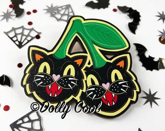 Cat Cherry Brooch by Dolly Cool - Wooden Novelty Pin - Gothic - Horror - Black Cat - Wikka - Halloween