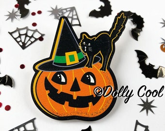Witch Pumpkin Brooch by Dolly Cool - Wooden Novelty Pin - Gothic - Horror - Black Cat - Occult - Wikka - Halloween