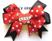 Black, Red Polka and Love Tattoo Heart hair bow by Dolly Cool