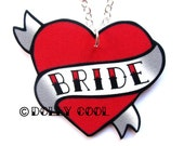 Heart Necklace Wedding Tattoo style  - Bride - Hand Made by Dolly Cool Rockabilly 50s