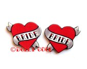 Bride Heart Earrings Love Tattoo style by Dolly Cool Traditional Old School Wedding