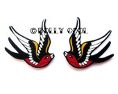 Swallow earrings in Black and Red Tattoo Style by Dolly Cool Sparrow Tattoo Flash