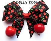 Cherry and Polka dot hair bow with realistic lifelike juicy cherries by Dolly Cool