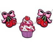Cherry Necklace with Bow and cupcake Tattoo flash inspired