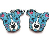 Pitbull - Staffie - Earrings Sugar Skull Style in Blue by Dolly Cool