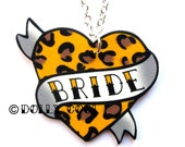 Heart Necklace Wedding Tattoo style  - Bride - Leopard Print Hand Made by Dolly Cool Rockabilly 50s